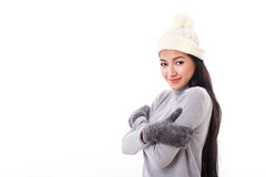 Happy woman in fall or winter style Royalty Free Stock Photo
