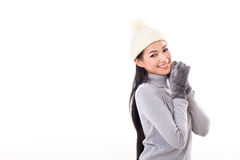 Happy woman in fall or winter style Stock Images