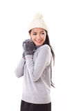 Happy woman in fall or winter style Stock Photo