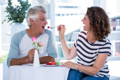Happy woman feeding food to man Royalty Free Stock Image