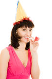 Happy Woman in a festive hat and red dress Stock Photos