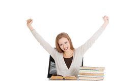 Happy woman finished preparing to exam Royalty Free Stock Photography