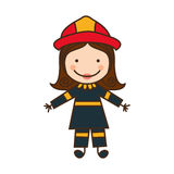 Happy woman firefighter icon. Illustration design Royalty Free Stock Image