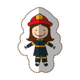 Happy woman firefighter icon. Illustration design Royalty Free Stock Photos
