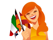 Happy woman with flags. Happy woman holding various european flags Stock Photography