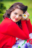 Happy woman with flower Stock Photo