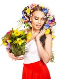 Happy woman with flower. Royalty Free Stock Photo