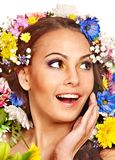 Happy woman with flower. Royalty Free Stock Photos