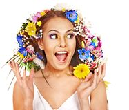 Happy woman with flower. Stock Photography