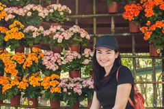 Happy woman with flower Stock Photos