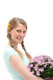 Happy Woman With Flower Bouquet Royalty Free Stock Images