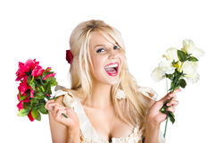 Happy woman with flowers Stock Photo