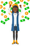 Happy woman with  flying money Royalty Free Stock Photography