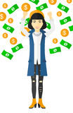 Happy woman with  flying money. Stock Photos