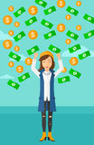 Happy woman with  flying money. Royalty Free Stock Photos