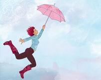 Happy woman flying in open air with umbrella Stock Images