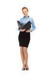 Happy woman with folder Stock Photo
