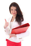 Happy woman with folder showing ok sign Stock Image