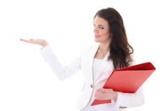 Happy woman with folder showing something Royalty Free Stock Photos