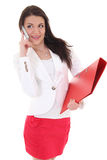 Happy woman with folder and telephone Stock Photos