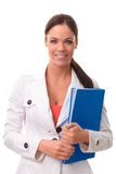 Happy woman with folder Stock Image