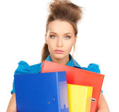 Happy woman with folders Stock Image
