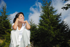 Happy woman on forest Royalty Free Stock Photo