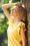 Happy woman in forest Stock Photos