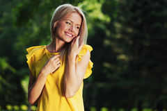 Happy woman in forest Royalty Free Stock Photography