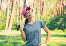 Happy woman in the forest royalty free stock images
