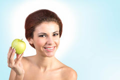 Happy Woman with fresh apple. Stock Photos