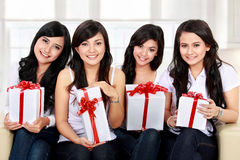Happy woman friend celebrate birthday. Four young beautiful girls celebrate birthday Stock Photo
