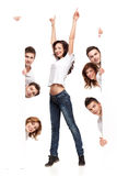 Happy woman and friends advertising Royalty Free Stock Photos