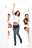 Happy woman and friends advertising Stock Photography
