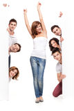 Happy woman and friends advertising Stock Photo