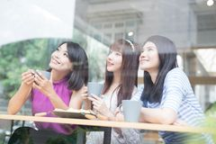 Happy woman friends in restaurant Royalty Free Stock Image