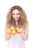 Happy woman with fruit Stock Image
