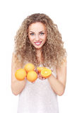 Happy woman with fruit Stock Photos