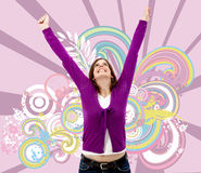 Happy woman full of success Stock Images