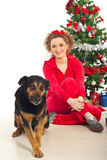 Happy woman with funny dog Royalty Free Stock Photography
