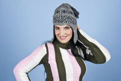 Happy woman with funny wool cap Stock Image