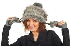 Happy woman in fur hat Royalty Free Stock Photos