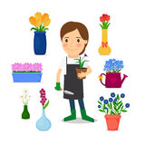 Happy woman gardening icons Royalty Free Stock Image