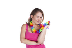 Happy woman with a Garland Stock Photo