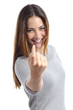 Happy woman gesturing beckoning. Isolated on a white background royalty free stock photo