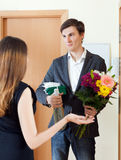 Happy woman get bunch of flowers from her husband Stock Photos