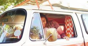 Happy woman getting down from van 4k. Happy woman getting down from van on a sunny day 4k stock video