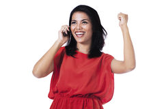 Happy woman getting good news Royalty Free Stock Image