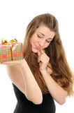 The happy woman with the gift Stock Photos