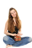 The happy woman with the gift Royalty Free Stock Photo